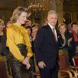 Le roi Philippe de Belgique accompagné de son épouse la reine Mathilde lors de ses voeux aux corps constitués le 29 janvier 2014 au palais royal à Bruxelles.