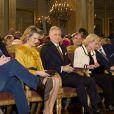 Le roi Philippe de Belgique était entouré de son épouse la reine Mathilde (à sa droite), sa soeur la princesse Astrid (à sa gauche) avec son mari le prince Lorenz, et son frère le prince Laurent (à droite de Mathilde), pour ses voeux aux corps constitués le 29 janvier 2014 au palais royal à Bruxelles.