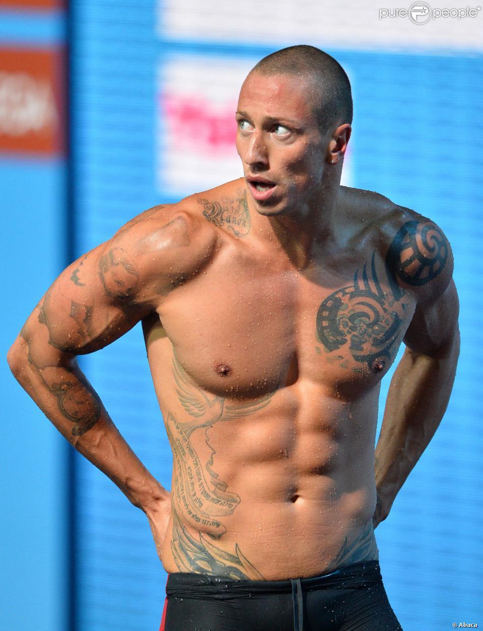 Frédérick Bousquet lors des championnats d'Europe à la piscine Montjuic de Barcelone, en juillet 2013