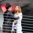 Behati Prinsloo en plein tournage pour Victoria's Secret à Miami, le 31 janvier 2014.