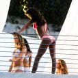 Alessandra Ambrosio, Adriana Lima, Lais Ribero et Behati Prinsloo en plein tournage pour Victoria's Secret avec le réalisateur Michael Bay. Miami, le 31 janvier 2014.