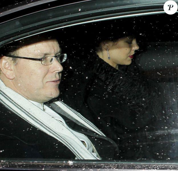 Le prince Albert II de Monaco et Charlotte Casiraghi - Arrivées des invités au mariage religieux de Andrea Casiraghi et Tatiana Santo Domingo en l'église de Rougemont, le 1er février 2014.