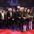 """Le final sur scène avec les lauréats - Clôture des """"Rencontres Internationales du Cinéma"""" et remise des Prix Henri-Langlois à Vincennes le 3 février 2014."""