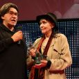 """Jean-François Davy et Anna Karina - Clôture des """"Rencontres Internationales du Cinéma"""" et remise des Prix Henri-Langlois à Vincennes le 3 février 2014."""