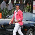 """La star de """"Qui veut épouser mon fils ?"""", Giuseppe Polimeno, sur le tournage de l'émission de télé-réalité """"Giuseppe Restaurant"""" a Miami le 15 janvier 2014.15/01/2014 - Miami"""