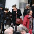 La famille de François Cavanna à la sortie des obsèques de François Cavanna au Père Lachaise à Paris. Le 6 février 2014.