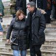 Michèle Bernier et Bruno Gaccio à la sortie des obsèques de François Cavanna au Père Lachaise à Paris. Le 6 février 2014.