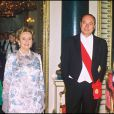 Le duc d'Edimbourg, Jacques Chirac, Bernadette et Elizabeth II à Londres, le 16 mai 1996.