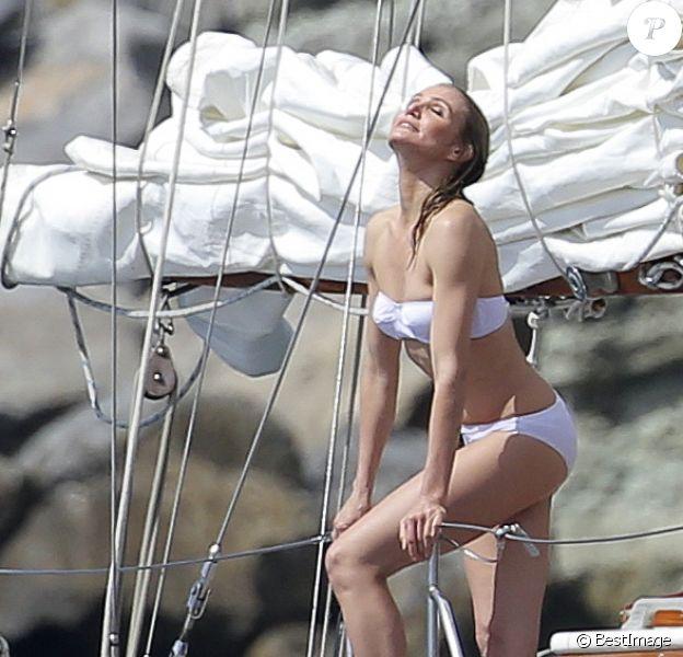 Exclusif - Cameron Diaz lors d'un shooting sur un bateau à Saint-Barthélemy, le 31 janvier 2014.