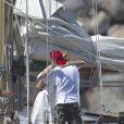 Exclusif - Cameron Diaz très proche du célèbre photographe Giampaolo Sgura lors d'un shooting sur un bateau à Saint-Barthélemy, le 31 janvier 2014.