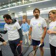 Nicolas Deuil, Michèle Laroque et Henri Leconte lors du lancement de l'opération Sourire gagnant de l'association Enfant Star & Match à Levallois-Perret le 10 février 2014