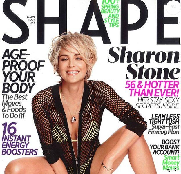 Sharon Stone, ultra-hot en couverture du magazine Shape, daté de février 2014.