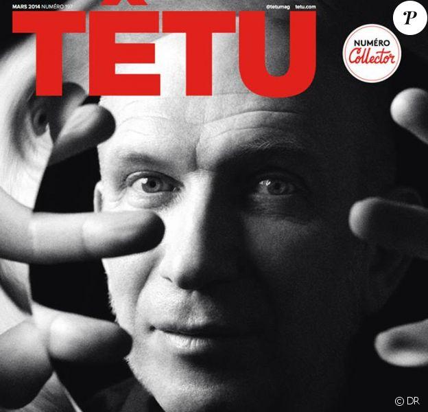 Jean Paul Gaultier en couverture du magazine Têtu, daté du mois de mars 2014.