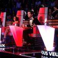 Elliott, Leïla et Florence lors de leur battle dans The Voice 3 sur TF1 le samedi 29 février 2014