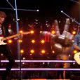 Flo et Roman lors de leur battle dans The Voice 3 sur TF1 le samedi 29 février 2014