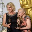 Catherine Martin et Beverley Dunn (meilleure direction artistique pour Gatsby le magnifique) lors de la cérémonie des Oscars le 2 mars 2014