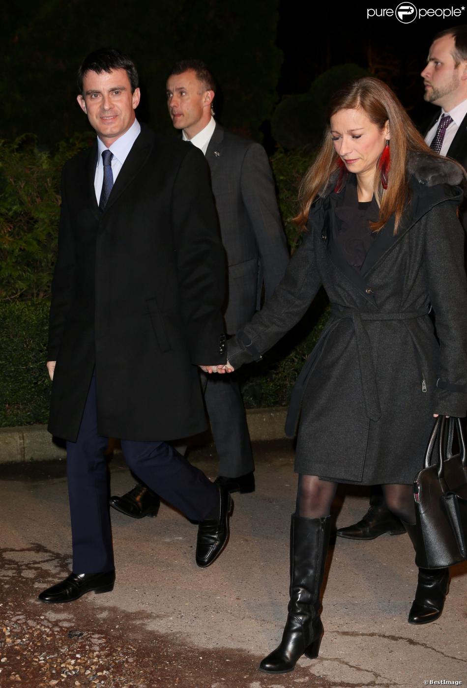 Manuel Valls et sa femme Anne Gravoin - 29e dîner annuel du Conseil représentatif des institutions juives de France (Crif) au Pavillon d'Armenonville à Paris le 4 mars 2014.