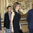 Letizia d'Espagne lors du dîner de gala organisé en hommage, à la Maison de l'Amérique à Madrid le 4 mars 2014, au travail de l'économiste Enrique V. Iglesias.