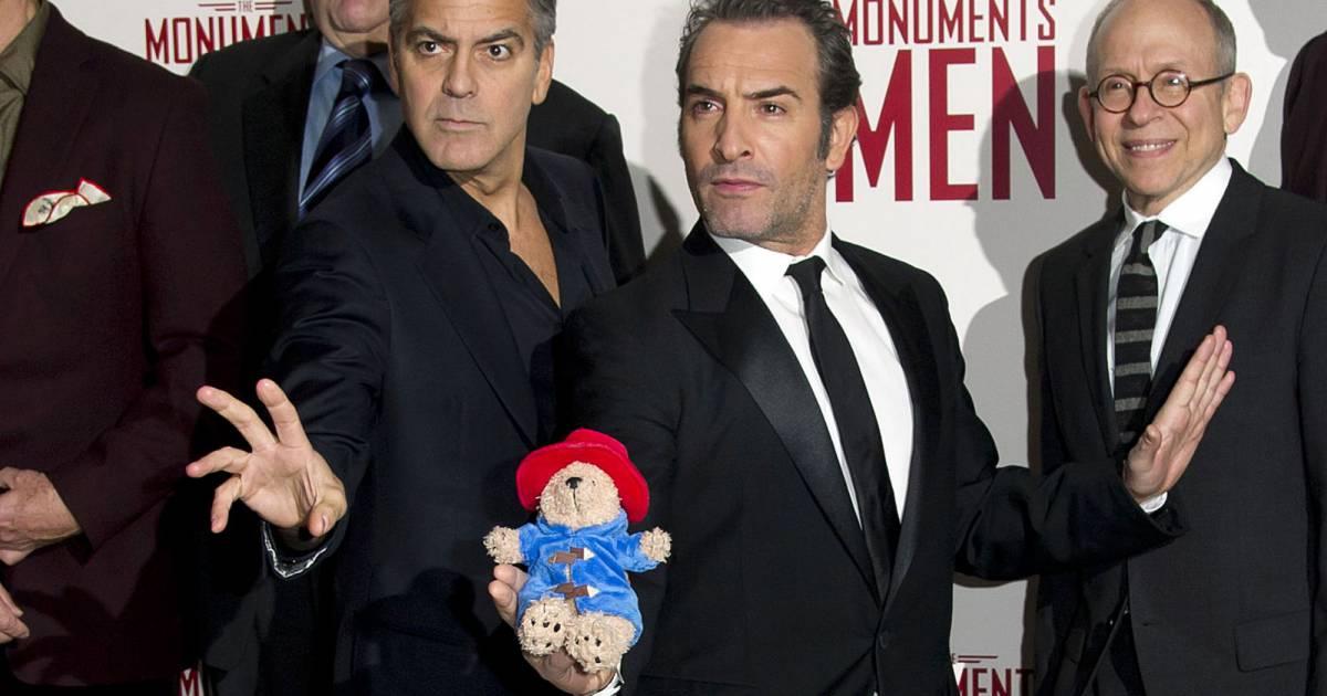George clooney et jean dujardin lors de l 39 avant premi re du film monuments men londres le 11 - Jean dujardin et george clooney ...