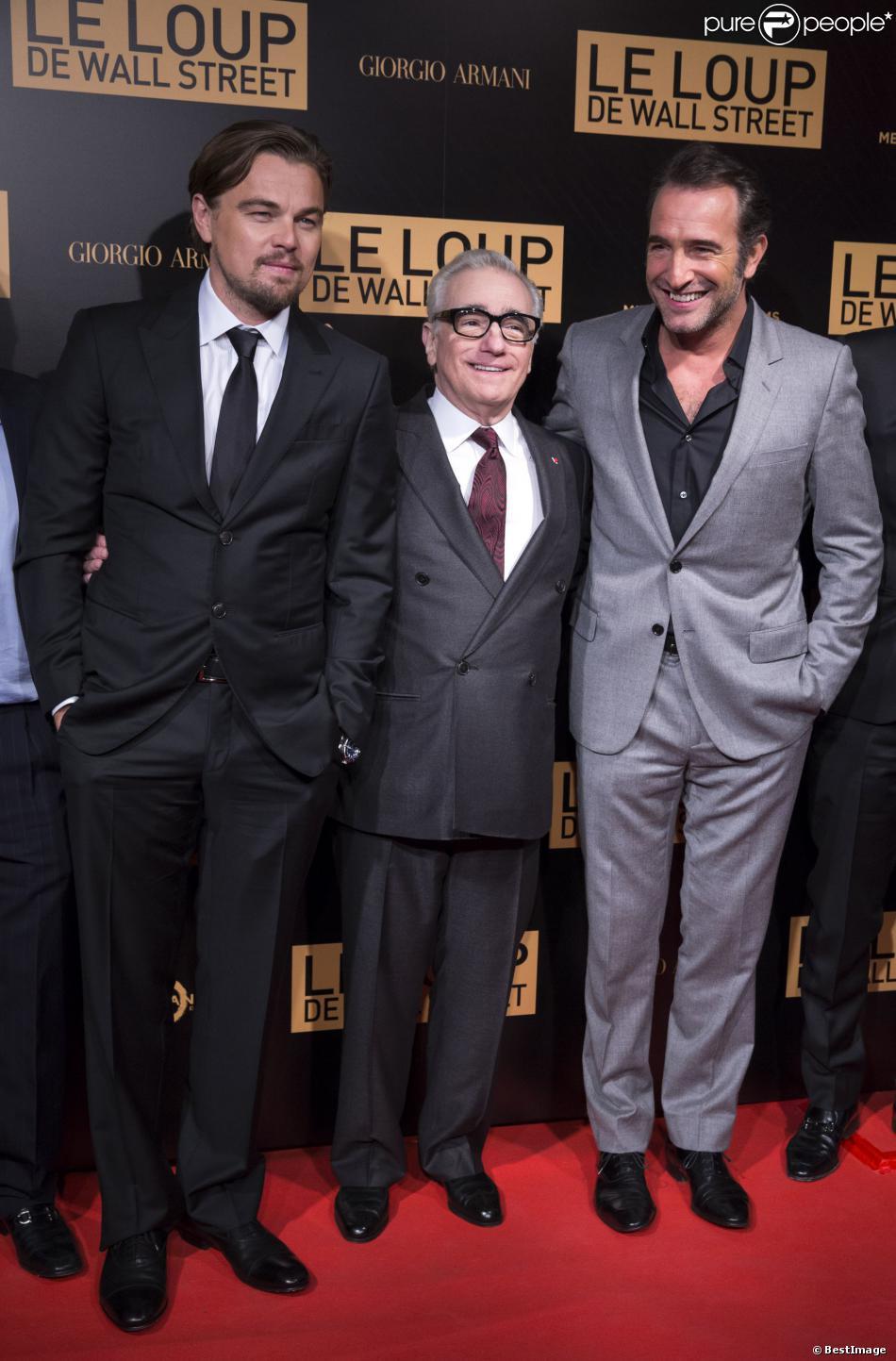 """Leonardo DiCaprio, Martin Scorsese et Jean Dujardin lors de l'avant-première mondiale du film """"Le loup de Wall Street"""" à Paris, le 9 décembre 2013"""