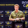 """"""" Le prince Harry en point presse au Queen Elizabeth Park le 6 mars lors de l'annonce officielle des 1ers Invictus Games, jeux paralympiques militaires qui se tiendront du 10 au 14 septembre 2014. """""""