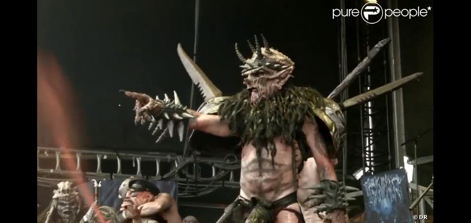 Oderus Urungus, alias Dave Brockie, et son groupe Gwar sur la scène du Soundwave festival de Brisbane en Autralie, le 22 février 2014.