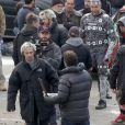 Aaron Taylor-Johnson (Pietro Maximoff/Quicksilver) en action sur le tournage d'Avengers 2, à Aoste, Italie, le 24 mars 2014.