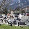 Ambiance sur le tournage d'Avengers 2, à Aoste, Italie, le 24 mars 2014.