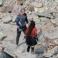 Elizabeth Olsen et Aaron Taylor-Johnson sur le tournage d'Avengers 2 à Aoste, le 24 mars 2014.