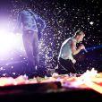 Chris Martin et Coldplay en concert à Stockholm, le 30 août 2012.