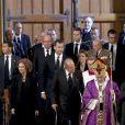 Le roi Juan Carlos, la reine Sofia, le prince Felipe et la princesse Letizia d'Espagne arrivant lors des obsèques d'Etat de l'ancien chef du gouvernement espagnol Adolfo Suarez en la cathédrale de La Almudena à Madrid, le 31 mars 2014.