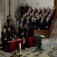 Le roi Juan Carlos, la reine Sofia, le prince Felipe et la princesse Letizia d'Espagne présidaient la cérémonie des obsèques d'Etat de l'ancien chef du gouvernement espagnol Adolfo Suarez en la cathédrale de La Almudena à Madrid, le 31 mars 2014.