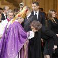 La reine Sofia d'Espagne à la sortie ds obsèques d'Etat de l'ancien chef du gouvernement espagnol Adolfo Suarez en la cathédrale de La Almudena à Madrid, le 31 mars 2014.