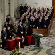 La famille royale d'Espagne présidait lors des obsèques d'Etat de l'ancien chef du gouvernement espagnol Adolfo Suarez en la cathédrale de La Almudena à Madrid, le 31 mars 2014.