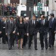 Jose Maria Aznar et sa femme arrivent lors des obsèques d'Etat de l'ancien chef du gouvernement espagnol Adolfo Suarez en la cathédrale de La Almudena à Madrid, le 31 mars 2014.
