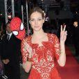 Pauline Lefèvre (robe Yiqing Yin et manchettes Van Cleef & Arpels) lors de l'avant-première du film The Amazing Spider-Man 2: Le Destin d'un Héros à Paris, le 11 avril 2014.