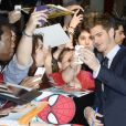 Andrew Garfield lors de l'avant-première du film The Amazing Spider-Man 2: Le Destin d'un Héros à Paris, le 11 avril 2014.