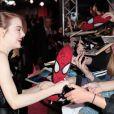 Emma Stone lors de l'avant-première du film The Amazing Spider-Man 2: Le Destin d'un Héros à Paris, le 11 avril 2014.