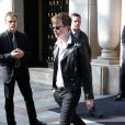 "Exclusif - Dane DeHaan - Les acteurs du film ""The Amazing Spider-Man 2"" quittent leur hôtel à Paris le 11 avril 2014."