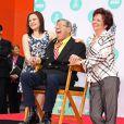 Jerry Lewis avec sa femme SanDee Pitnick, et sa fille Danielle Sarah Lewis au TCL, Los Angeles, le 12 avril 2014.