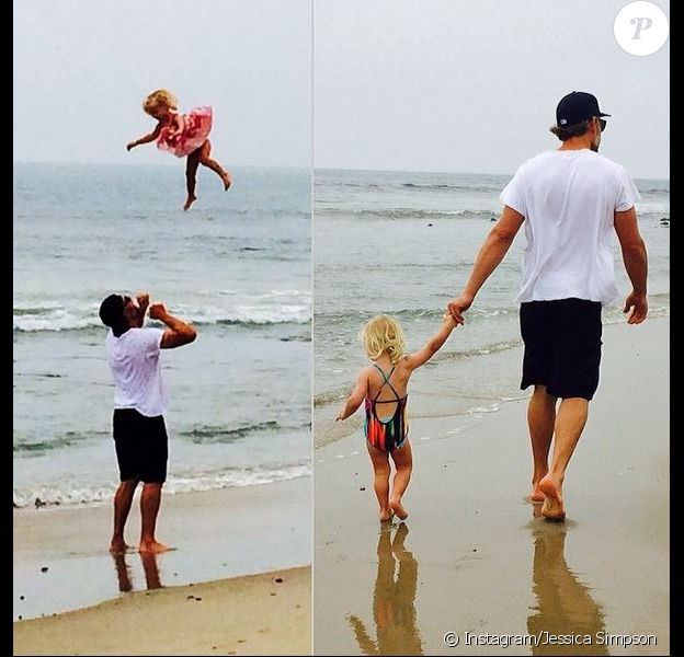 Eric Johnson et sa fille Maxwell pris en photo par Jessica Simpson, le 16 avril 2014.