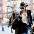 Johnny Depp et sa fiancée Amber Heard arrivent à Big Apple dans un hôtel de New York, le 21 avril 2014.