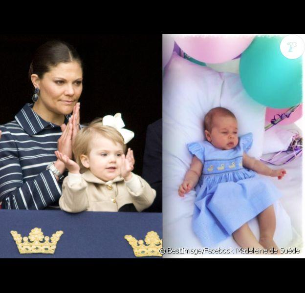 La princesse Estelle observant avec la reine Silvia et la princesse Victoria les célébrations du 68e anniversaire du roi Carl XVI Gustaf le 30 avril 2014 à Stockholm / La princesse Leonore fêtant un joyeux anniversaire à son papy dans une photo publiée le même jour depuis New York par la princesse Madeleine.