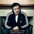 Benicio Del Toro dénonce les agressions sexuelles contre les femmes dans une campagne vidéo de la Maison Blanche. Avril 2014.