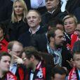 Salma Hayek, son mari François-Henri Pinault, et Maryvonne Pinault à l'occasion de la finale de la Coupe de France entre le Stade Rennais et Guingamp, à Saint-Denis, près de Paris, le 3 mai 2014.