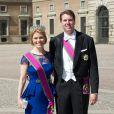Le prince Hubertus de Saxe-Cobourg et Gotha et la princesse Kelly lors du mariage de la princesse Madeleine de Suède et Christopher O'Neill, le 8 juin 2013 à Stockholm.
