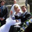 Le prince Hubertus de Saxe-Cobourg et Gotha et sa femme la princesse Kelly lors de leur mariage, célébré le 23 mai 2009 à Cobourg et suivi d'une réception au château Callenberg. Le couple a accueilli le 30 avril 2014 son premier enfant, une petite fille prénommée Katharina.