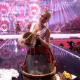 Donatan et Cleo et leurs danseuses, représentantes de la Pologne, lors du 59e concours Eurovision le 10 mai 2014 à Copenhague.