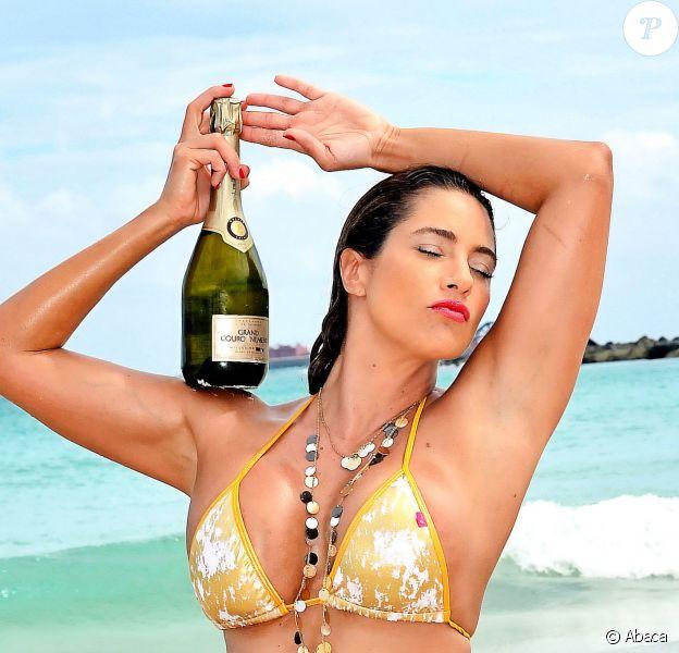 Jennifer Nicole Lee, divine en bikini, pose avec une bouteille Billionaire Champagne, dont elle est la nouvelle ambassadrice. Miami, le 12 mai 2014.
