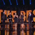 Christophe Beaugrand, Estelle Denis et le jury de The Best au complet ( The Best , la finale - émission diffusée le vendredi 16 mai 2014.)